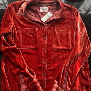 Anthropologie Holding Horse Orange Velvet Shirt